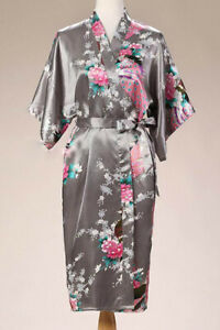 Plus Loose Satin Kimono Robe Dressing Gown Wedding Bridesmaid Sleepwear Bathrobe