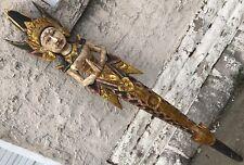 "Vintage 65"" Nyi Blorong Indonesian Bali Mermaid Goddess Carved Wood Sculpture"