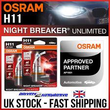 2 x H11 OSRAM NIGHT BREAKER UNLIMITED +110% Bright,+20% Whiter Light XENON LOOK