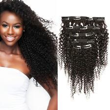 Brazilian Virgin Hair Kinky Curly Clip in Human Hair Extension Natural Black