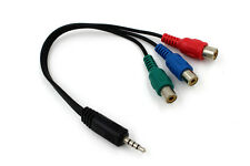 3.5mm Jack Male 4-Pole to 3 RCA Phono Female TV AV Video Adapter Cable Lead