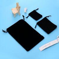 Small Black Gift Bag Velvet Cloth Jewelry Pouch Drawstring Wedding Favors S/M/L