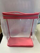 Clinique Makeup Skincare Plastic Travel Gift Bag With Handle Clear/Pink