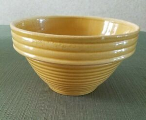 "Vintage Yellow Ware Stoneware 8"" bowl in beehive design"