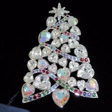 Swarovski Crystal 2007 Rockefeller Center Christmas Tree Brooch Signed Retired