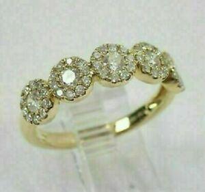 2Ct Round Cut Diamond Halo Wedding Engagement Band Ring 14K Yellow Gold Finish