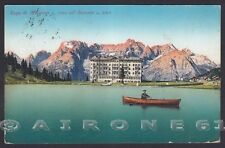BELLUNO MISURINA 31 AURONZO - LAGO - SORAPIS - BARCA Cartolina viaggiata 1927