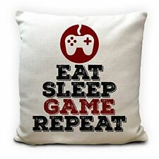 Eat Sleep Game Repeat Cushion Cover Gaming Pillow Case, High Quality Large 16 In