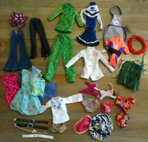 Lot of Barbie Clothing and Accessories 29 Pieces Belts Hats Pants Dresses Apron