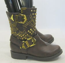 """NEW Brown/Gold Stud Lace Up 1.5""""Block Heel  Ankle Sexy Boots  WOMEN Size 8.5"""