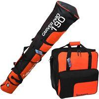 BRUBAKER Combo Ski Bag and Ski Boot Bag Black Orange 190cm Padded Shoulder Strap