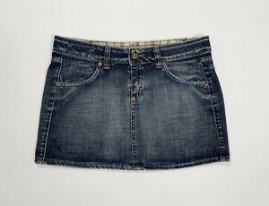 Sly mini gonna jeans usato donna W28 tg 42 corta denim hot sexy vintage T4896