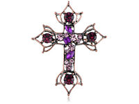 Graceful Purple Crystal Pins Cute Ethnic Cross Pin Brooch Pendant Fashion Decor