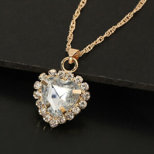 Women Wedding Choker Crystal Pendant White Sapphire Heart Necklace Jewlery Gift