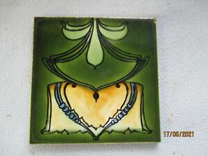Vintage Colourful  Faience Art Nouveau Pottery Tile