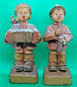 """Vintage: Hand Carved Wooden Figures 5.5"""" Tall, Accordian and Flute"""