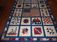 Quilt Top - Red White Blue with American Flag - Twin Size - New