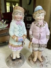 Antique Large German Bisque Porcelain Figurines Boy Girl With Ice Skates Germany