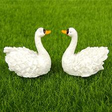 2pcs White Swan Bird Fairy Garden Terrarium Dollhouse Figurine Shelf Decor Toy