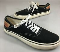 Levis Mens 9.5 Black Canvas Leather Patch Low-Top Gym Shoes Sneakers 51474201