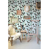Leaves on Stripes Tropical Pattern Self adhesive removable wallpaper Easy stick