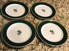 Eddie Bauer Salad Dessert Plates Pine Cone Set Of 4 Green Rim Gold Accent