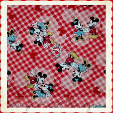 BonEful Fabric FQ Cotton Quilt Red White Mickey Minnie Dress Mouse Disney Heart
