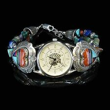 VINTAGE Sterling Silver Multi-stone Indian Wristwatch