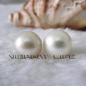 11-12mm B White Mabe South Sea Pearl Stud Earrings  Post  UE