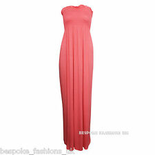 H2b Women's Shirring Gather Boobtube Bandeau Ladies Summer Strapless Maxi Dress M/l Coral