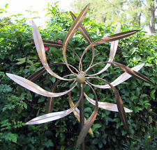 Stanwood Wind Sculpture - Kinetic Copper Dual Spinner - Dancing Willow Leaves