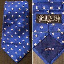 Thomas Pink London Blue & Gold Diamond Squares Thick Woven 100% Silk Tie