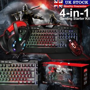 4in1 RGB Gaming Keyboard Mouse Headset Combo For PS4 PC RGB LED Backlit Wired UK