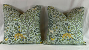 PAIR Robert Allen Whimsical FOLKLAND AQUA Pillow Covers 20x20 CUSTOM MADE