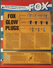FOX Model Airplane Engine Motor Products Catalog #27 Made in America