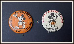 ⭐ 2 MICKEY MOUSE Club Pins - Disney 1930 - DISNEYANA.IT ⭐
