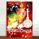 "Vintage French Perfum Poster Art CANVAS PRINT 16x12"" Fleurs de Mousse"