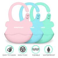 Baby Towel Bibs Boy Girls Silicone Waterproof Adjust Feeding Bib Cloth Cartoon