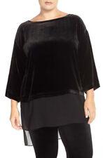 $298 BNWT Eileen Fisher Silk Rayon Velvet BLACK Tunic Top Sheer Silk Hem 1X 2X