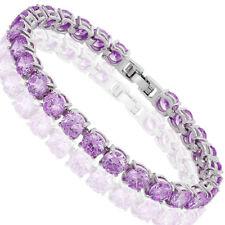 Fashion Fashion Jewelry Round Cut Purple Amethyst Dainty Tennis Bracelet