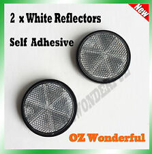 2pc Round White Reflector Marker Truck Car Trailer Caravan Self Adhesive