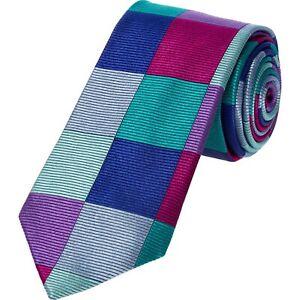 DUCHAMP LONDON Mens Multicoloured Block Stripe Check Necktie Silk Tie > RRP £100