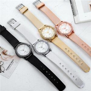 Women Ladies Girl Stainless Steel Band Bracelet Crystal Dial Quartz Wrist Watch