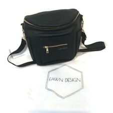 NWOT Fawn Design MINI Faux Leather Diaper Bag Black Gold Accents with Dust Bag