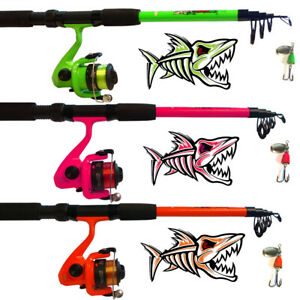 Angelset Tele Spinning Combo grün pink orange Rute + Rolle + Schnur + Spinner