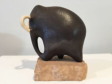 Maigon Daga Studio Pottery Ceramic Mammoth Mastodon on Travertine Base
