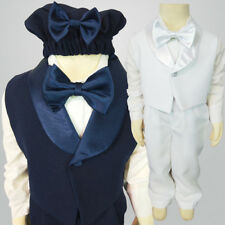 Page Boys Toddler 4pc Vest Suit Hat Navy White size 000 - 1 Wedding Christening