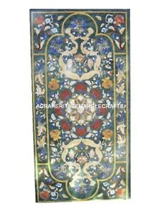 Green Marble Dining Room Table Top Pietradura Gem Inlay Patio Mosaic Decor H3012