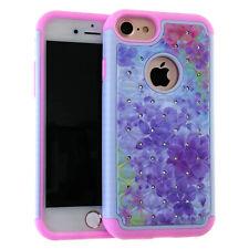 For iPhone 7 / 8 - Hybrid Hard & Soft Armor Bling Case Cover Diamond Rhinestone
