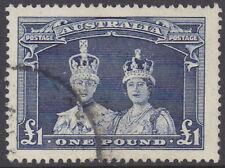 Australia 1938 £1 Bluish slate King George & Queen Elizabeth  sg 178 Used